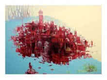 Mahesh Gobra | Acrylic Painting title Bhopal City on canvas | Artist Mahesh Gobra Gallery | ArtZolo.com