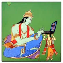 King using Laptop | Painting by artist Shahed Pasha | acrylic | Canvas