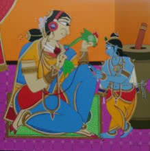 Krishna finding a song | Painting by artist Shahed Pasha | acrylic | Canvas