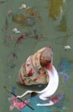 Abstract Acrylic Art Painting title 'Artist and Sea Shell' by artist Zakir Hussain Shaikh