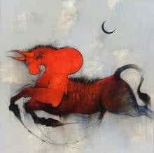 Animals Mixed-media Art Painting title 'Nandi' by artist Amol Pawar
