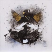 Religious Acrylic-charcoal Art Painting title Gajanan by artist Amol Pawar