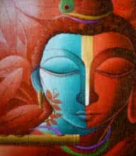Religious Acrylic Art Painting title 'Fusion' by artist Dhananjay Mukherjee