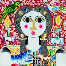 Figurative Acrylic Art Painting title Animals And Pretty Girl by artist Ravi Kattakuri