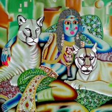 Figurative Acrylic Art Painting title Queen And Tigers by artist Ravi Kattakuri