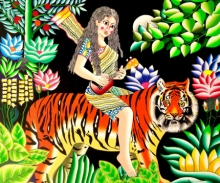 Figurative Acrylic Art Painting title 'Tiger And Girl' by artist Ravi Kattakuri