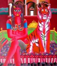 Figurative Acrylic Art Painting title Tiger And Young Girl by artist Ravi Kattakuri