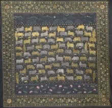Pichwai Cows | Painting by artist Pushkar Lohar  Pichwai | mixed-media | Cloth