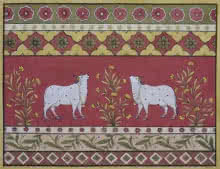 Pushkar Lohar | Pichwai Traditional art title Pichwai 9 on Cotton Cloth | Artist Pushkar Lohar Gallery | ArtZolo.com