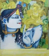 Religious Acrylic Art Painting title 'Radha with Cow' by artist Saraswathi Lingampally
