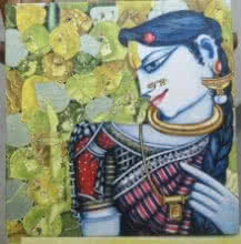 Saraswathi Lingampally | Acrylic Painting title Radha in Deep Thoughts on Canvas | Artist Saraswathi Lingampally Gallery | ArtZolo.com