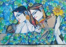 Religious Acrylic Art Painting title Love by artist Saraswathi Lingampally