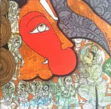Religious Acrylic Art Painting title Hanuman by artist Ramesh Gorjala
