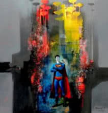 Surrealist Acrylic Art Painting title Superman by artist Pradip Sengupta