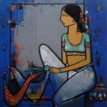 Lady With Bird 4 | Painting by artist Girish Adannavar | acrylic | Canvas