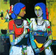 Figurative Acrylic Art Painting title 'Untitled 11' by artist Girish Adannavar
