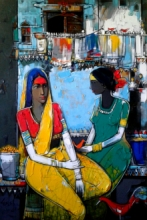 Figurative Acrylic Art Painting title 'Untitled 19' by artist Girish Adannavar