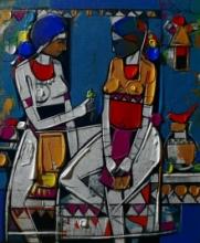 Figurative Acrylic Art Painting title 'Untitled 22' by artist Girish Adannavar