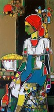 Figurative Acrylic Art Painting title 'Untitled 34' by artist Girish Adannavar