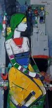 Figurative Acrylic Art Painting title 'Untitled 37' by artist Girish Adannavar