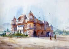 Landscape Watercolor Art Painting title 'Vijay Vilas Palace Mandvi' by artist Vikrant Shitole