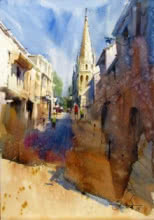 Landscape Watercolor Art Painting title 'Monprimblanc street' by artist Vikrant Shitole