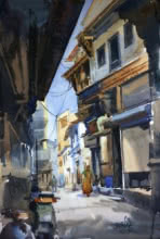 Landscape Watercolor Art Painting title Ahemadabad Street 1 by artist Vikrant Shitole
