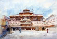 Landscape Watercolor Art Painting title 'City Of Palace' by artist Vikrant Shitole