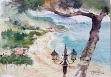 Landscape Watercolor Art Painting title 'Sperlonga Beach Italy' by artist Vikrant Shitole