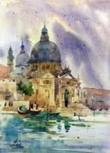 Landscape Watercolor Art Painting title 'The Accademia Galleries' by artist Vikrant Shitole