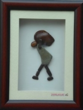 A person carrying weight | Sculpture by artist Jyothi Chinnapa Reddy | pebble stones