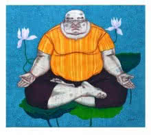 Yogi-1 | Painting by artist Mrinal Dey | acrylic | Yogi-1
