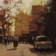Cityscape Acrylic Art Painting title 'Road stories 26' by artist Anwar Husain