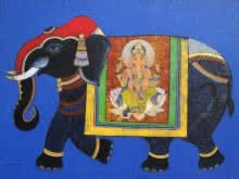 Religious Acrylic Art Painting title 'Royal Elephant' by artist Ashok Rathod