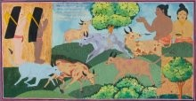 Cow herd and village boys in Vasantha Ma | Painting by artist Radhika Ulluru | mixed-media | Paper