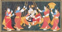 """Krishna on swing"" with gopis 