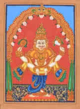 Traditional Indian art title Narasimha Avatara on Paper - Mysore Paintings