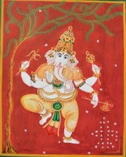 Ganesh dancing infront of sivalinga | Painting by artist Radhika Ulluru | watercolor | Paper