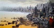 Cityscape Acrylic Art Painting title Banaras Ghat by artist NanaSaheb Yeole