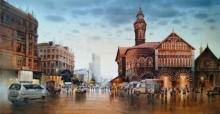 Cityscape Acrylic Art Painting title Crawford by artist NanaSaheb Yeole