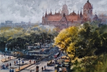 Cityscape Watercolor Art Painting title Cst by artist NanaSaheb Yeole