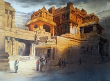 Cityscape Acrylic Art Painting title 'Ellora Caves 3' by artist NanaSaheb Yeole