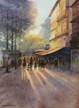 Landscape Watercolor Art Painting title Evening by artist NanaSaheb Yeole