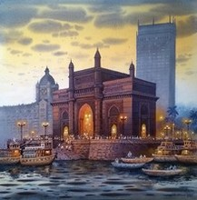 Cityscape Acrylic Art Painting title Gateway Of India by artist NanaSaheb Yeole
