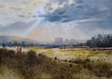 Landscape Watercolor Art Painting title Light by artist NanaSaheb Yeole