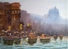 NanaSaheb Yeole Paintings | Watercolor Painting - Varanasi Ghat by artist NanaSaheb Yeole | ArtZolo.com