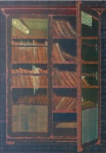 Lifestyle Oil Art Painting title '1 Books Cupboard' by artist RAMA REDDY