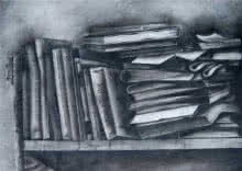 Still-life Charcoal Art Drawing title '3 Books On Rack' by artist RAMA REDDY