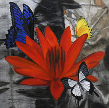 Landscape Oil Art Painting title Flower With Butterflies 12-30x30 by artist Sulakshana Dharmadhikari