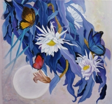 Landscape Oil Art Painting title 'Flower With Butterfly 10' by artist Sulakshana Dharmadhikari